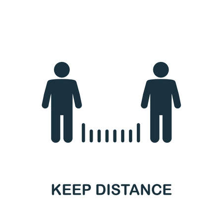 Keep Distance icon. Simple element from new normality collection. Filled monochrome Keep Distance icon for templates, infographics and banners 矢量图像