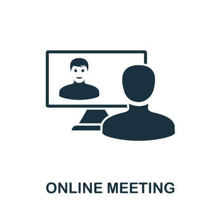 Online Meeting icon. Simple element from new normality collection. Filled monochrome Online Meeting icon for templates, infographics and banners 矢量图像