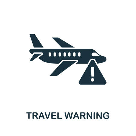 Travel Warning icon. Simple element from new normality collection. Filled monochrome Travel Warning icon for templates, infographics and banners 矢量图像
