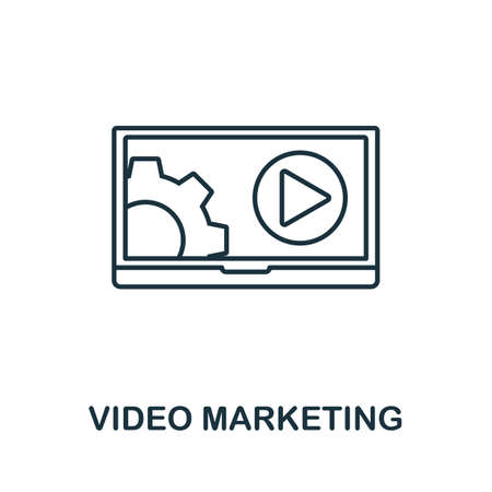 Video Marketing vector icon symbol. Creative sign from seo and development icons collection. Filled flat Video Marketing icon for computer and mobile 矢量图像