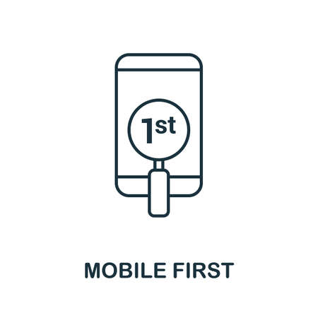 Mobile First vector icon symbol. Creative sign from seo and development icons collection. Filled flat Mobile First icon for computer and mobile