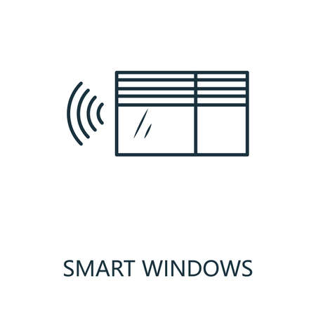 Smart Windows outline icon. Thin line style from smart home icons collection. Pixel perfect simple element smart windows icon for web design, apps, software, print usage 矢量图像