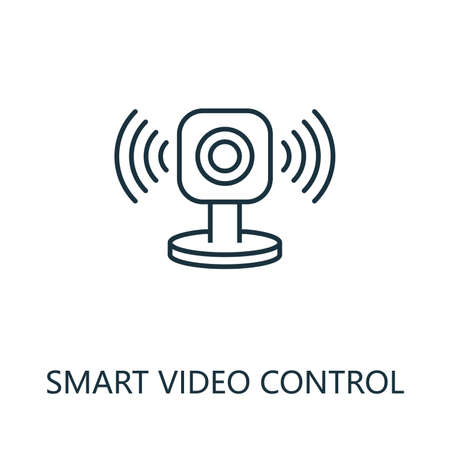 Smart Video Control outline icon. Thin line style from smart home icons collection. Pixel perfect simple element smart video control icon for web design, apps, software, print usage