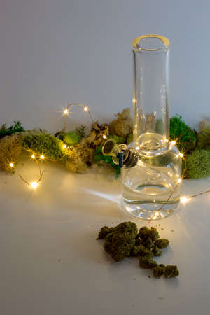 Dimly lit glass bong with marijuana, string lights and moss against white background