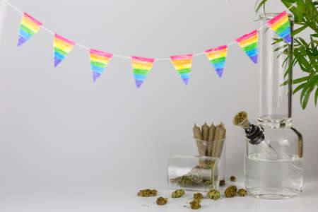 Bong with tropical plant, cone joints, weed buds in glass jar and rainbow pennants against a white backdrop