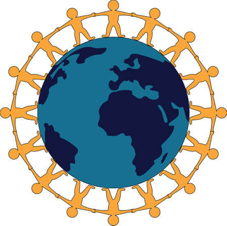 world peace: symbol of world peace with people standing hand in hand around the globe Illustration