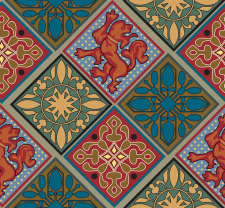 colrful: Baroque Royal Tile Pattern. Colorful tiles. Lion Emblem. Baroque ornament Stock Photo