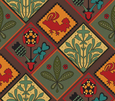 Italian Contry Tile Pattern. Medieval pattern. Colorful tiles. Country style. Tiles for a kitchen