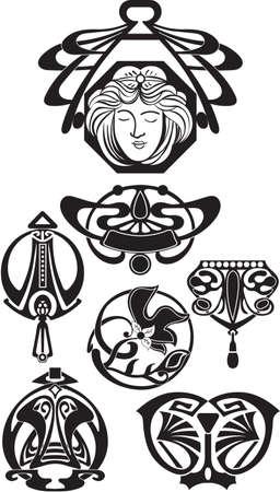 nouveau design: The Art Deco Design Elements Vector. Art elements isolated on white Illustration