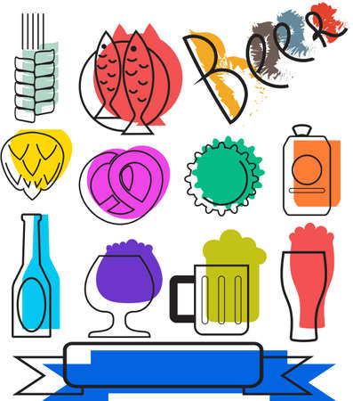 Set Of Colorful Beer Icons. Vector Icons. Creative Beer Icons and Symbols Vector
