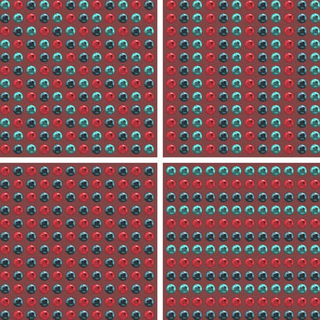 fabrick: Blue And Cherry Metal Balls Background. Vector Seamless Background. Fashion Seamless Pattern
