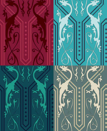 Vector seamless pattern with colored gothic dragons. Gothic Background. Seamless Background. Illustration