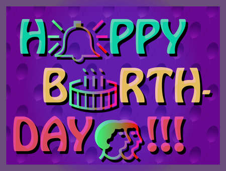 outlook: Colroful Birthday Card, joyful svector card, bright and reach greeting card with birthday cake, birthday card with outlook symbols, big letters