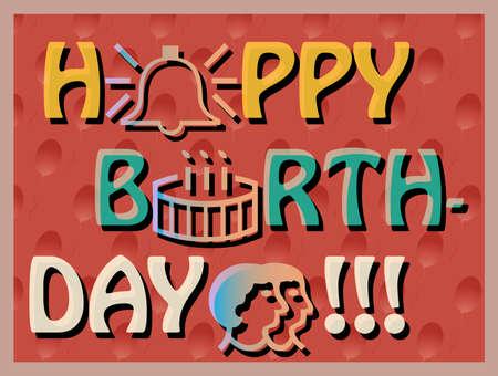 outlook: Colroful Birthday Card, joyful svector card, bright and reach greeting card with birthday cake, birthday card with outlook symbols, big letters