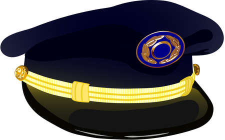 assisted: Pilots Service Cap Vector Illustration, Aviation Illustration, Pilots Cap With The Badge Isolated On White Illustration