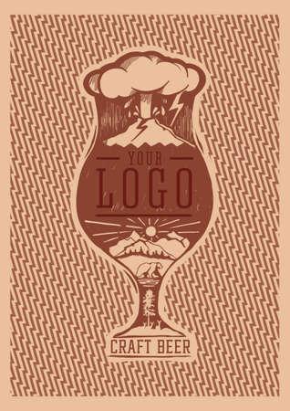 craft beer alaska print glass postcard illustration of a volcano Illustration