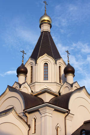 symmetrical orthodox church dome with crosses on sky background