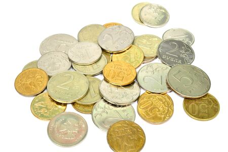 bimetallic: Bimetallic coins are loose on a light background bunch