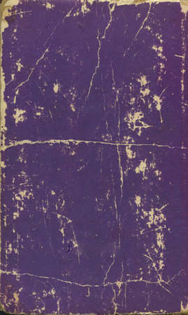 An aged, antique, very old, purple book cover.