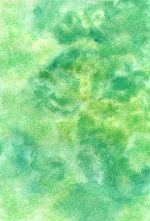 A handmade greenish texture painted with watercolors on wet paper