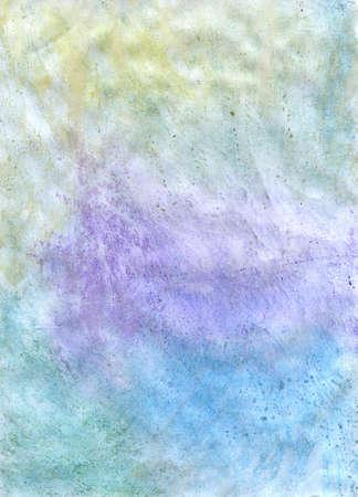 paraffine: Een handgemaakte blauwe textuur beschilderd met waterverf op papier bedekt met paraffine