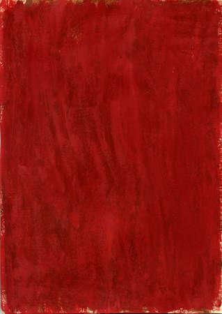 Red tessitura a mano tela dipinta con gouache su un pezzo di carta ricoperti di paraffina