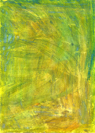 Handmade green and yellow texture painted with gouache Stock Photo