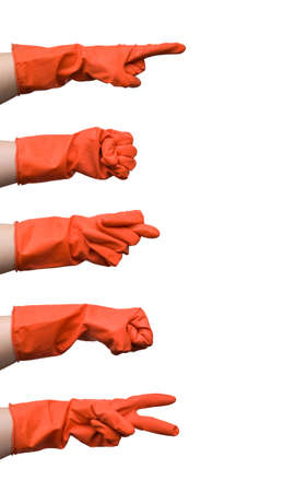 Set of gestures made by female hand in a red rubber glove isolated on white background  photo