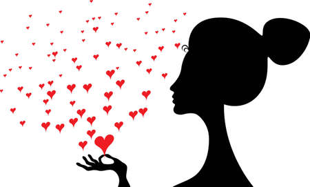 woman side view: Side view of black silhouette of a woman with long neck holding a red heart  Illustration