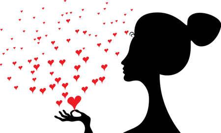 Vista laterale della sagoma nera di una donna con il collo lungo in possesso di un cuore rosso Vettoriali