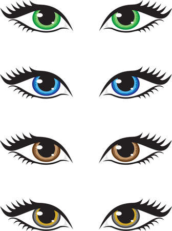 Four pairs of eyes of different colors, green, blue, brown and grey. Vector illustration. Çizim