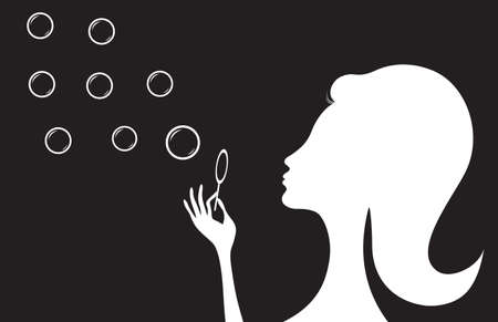 Girl with soap bubbles, vector illustration Çizim