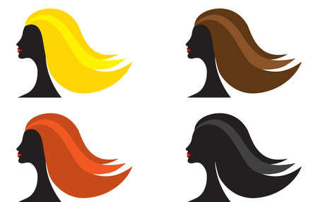 blondie: Four female silhouettes with different color of hair, vector illustration