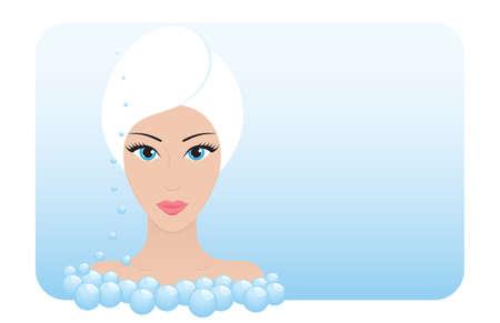Beautiful woman takes beauty SPA treatments Illustration