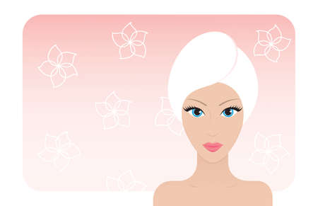 Beautiful woman after taking a bath. Vector illustration. Çizim