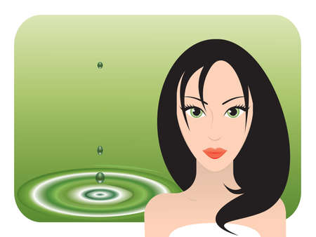 eye drops: Young beautiful black-haired woman with green eyes taking spa treatment. Vector illustration.