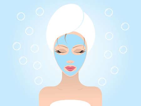 Junge sch�ne Frau mit ihrem geschlossenen Augen �ber ein Gesichtsmaske. Vector illustration.