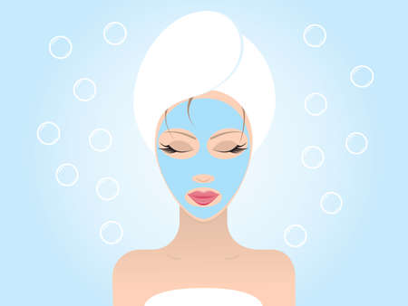 Young beautiful woman with her eyes closed applying a facial mask. Vector illustration.
