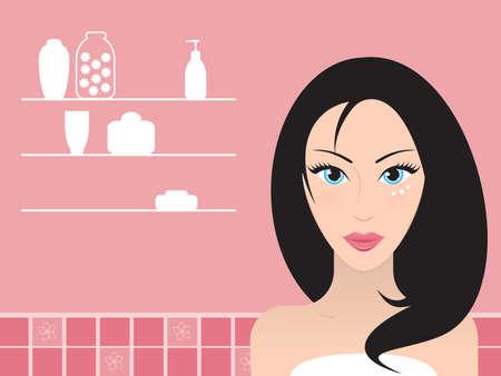 salud sexual: Pareja hermosa mujer de pelo negro con crema debajo de sus ojos azules. Ilustraci�n vectorial. Vectores