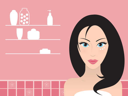 Young beautiful black-haired woman with cream under her blue eyes . Vector illustration. Çizim