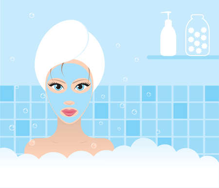 Beautiful woman taking a bath. Vector illustration.