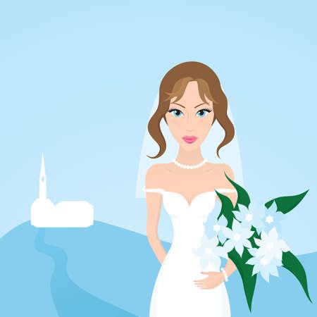 Sch�ne Braut mit einem Blumenstrau� vor der Hochzeit. Illustration