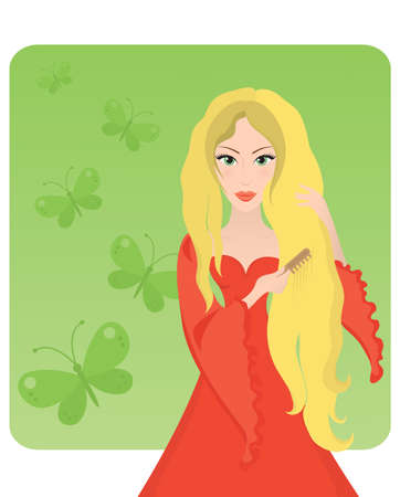 Vector illustration of a blonde lady combing her long hair.