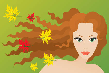 Autumn type of female appearance. Vector illustration. Çizim