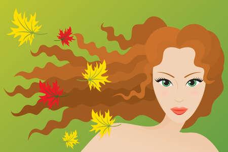 Autunno tipo di aspetto femminile. Vector illustration.