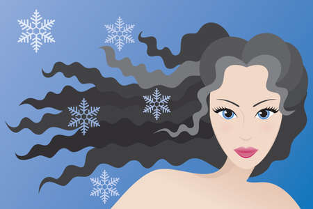 Winter type of female appearance. Vector illustration.