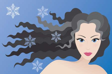 black hair blue eyes: Winter type of female appearance. Vector illustration.