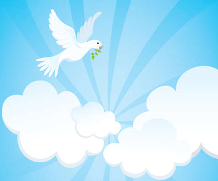 White dove with a green twig in the cloudy sky. Vector illustration.