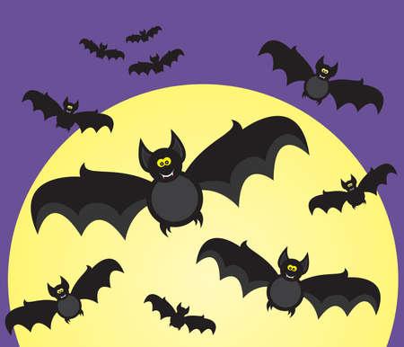 vampire bats: Flying vampire bats on the Eve of Halloween. Vector illustration.