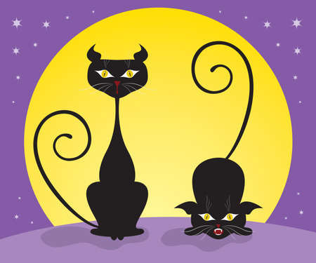 A vector illustration of two black cat with yellow eyes in front of big full moon and night starry sky background. Illustration